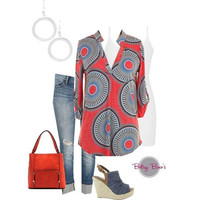 Set 449: Coral Circle Blouse (includes top, tank & earrings)