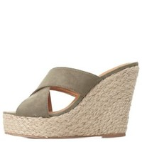 Olive Crisscross Mule Wedge Sandals by Charlotte Russe