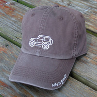 """All Things Jeep - Life is good Chill Cap - White Ride on """"Chocolate Brown"""" Hat"""