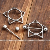 2X Stainless Steel Star Pentagram Nipple Ring Shields Bar Barbells Body Piercing