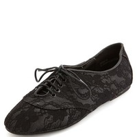 LACE OVERLAY OXFORD FLAT