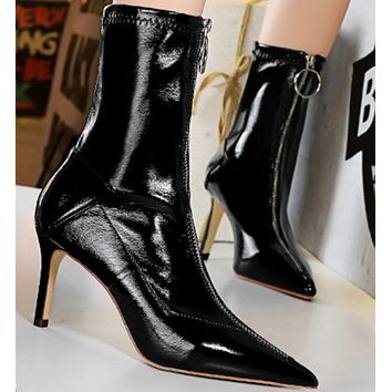 Sexy stiletto pointed high heel shiny patent leather front zipper ankle boots shoes