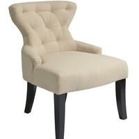 Ave Six Curves Hour Glass Accent Chair in Linen Fabric with Espresso Legs