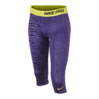 Nike Pro Fitted Graphic Girls' Capris - Purple Venom