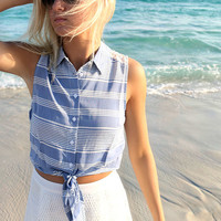 Laguna Beach Sleeveless Striped Lace Detail Tie Blouse