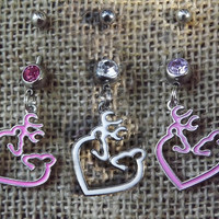 belly button jewelry, buck and doe charm, belly button ring, deer navel ring, pink buckmark, country southern, redneck girl, huntress, guns