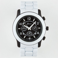 Two-Tone Metal Watch White/Black One Size For Men 20902916801