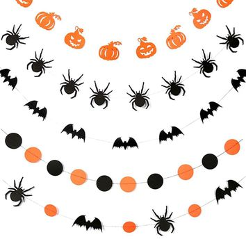 4M Spider Bat Pumpkin Paper Flower Decoration Halloween Flower Hanging Decoration Add Fun Excitement To Celebrations Halloween