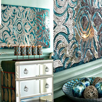 Glam Mirrored Mosaic Large Wall Panel in Turquoise Blue