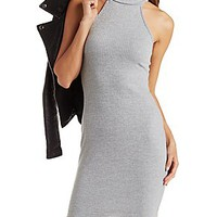 RIBBED TURTLENECK BODYCON DRESS