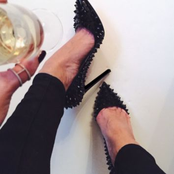 Gwen Black Spiked Patent Leather Pumps
