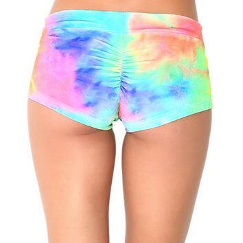 RAINBOW BOOTY SHORTS : Sexy Velvet Rave Soft, Tie-Dye Hippie Rave, Rainbow, Festival Fashion, Neon, Holographic