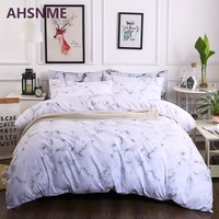 AHSNME 2/3pcs Grey Marble Patterns Bedding Set American Size Suitable for King Queen Twin Very Soft Quilt Cover Home Textiles
