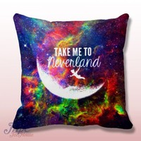 Peter Pan Take Me To Neverland Quote Throw Pillow Cover – MPCTeeHouse