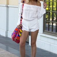 White Sands Crochet Romper- WHITE