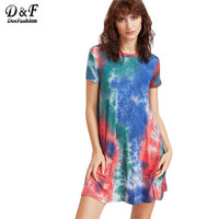 Dotfashion Tie Dye Casual Dress Women Multicolor Short Sleeve Vintage Summer Dresses 2017 O Neck Cotton Brief Mini Dress