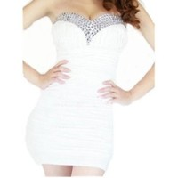 Women's Bling Rhinestone Beaded Short Prom Tunic Gown Strapless Cocktail Clubwear Party Evening Dress - white