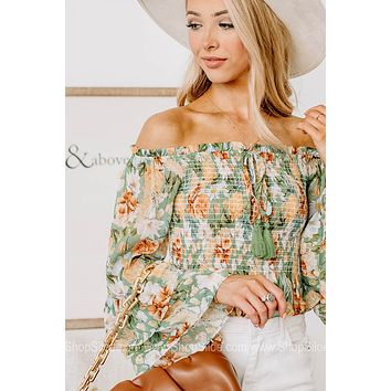 Above The Rest Floral Smocked Waist Top