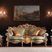 2 seater fabric sofa with integrated magazine rack 11417 Villa Venezia Collection by Modenese Gastone group