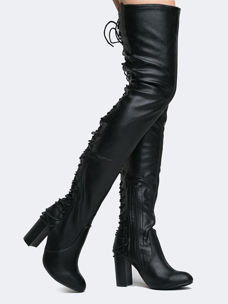 Image of Koko Lace Up Over the Knee Boot