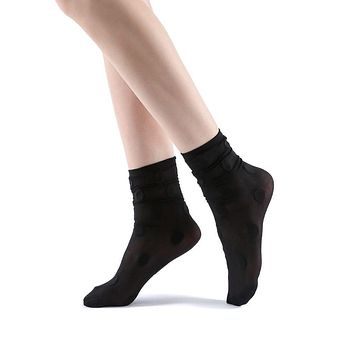 Marella Polka Sheer Mid High Sock | Black