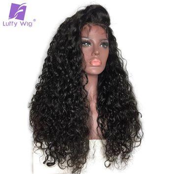 LUFFY Curly 13*6 Deep Part Pre Plucked Lace Front Human Hair Wigs Natural Color For Women Indian Non Remy Hair 130% Density