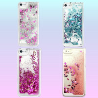 Glitterfall Phone Case - iPhone 5/5s / 6 - Baby Pink / Silver / Blue / Hot Pink