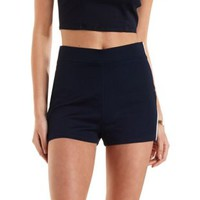 Piped High-Waisted Denim Shorts by Charlotte Russe