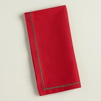 Red and Green Embroidered Cotton Napkins, Set of 4 - World Market