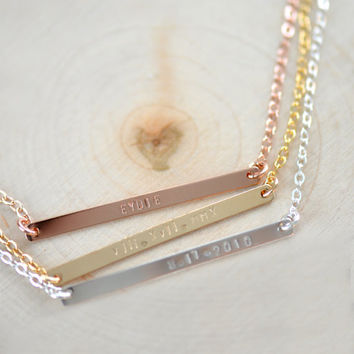 Personalized Bar Necklace , NamePlate Necklace , Skinny Bar Necklace , Skinny Long Nameplate Bar Necklace - New Mom Necklace - Gift