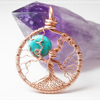 Full Moon Tree of Life Pendant Mother Nature Necklace Copper Wire Wrapped Metaphysical Protection Stone Turquoise Moon Yggdrasil Celtic