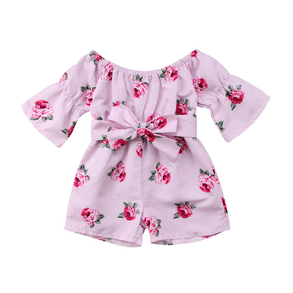 Image of toddler baby girl floral romper toddler baby girl off shoulder flare sleeve loose bow jumpsuit playsuit snsuit summer clothes