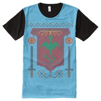 FireBreathing Dragon Ugly Christmas Sweater Shield All-Over Print T-shirt