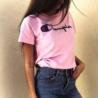 champion :letters print Couple T-shirt top Pink
