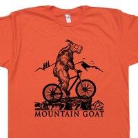 Mountain Bike T Shirt Mountain Goat T Shirt Cool Mountain Bike Shirt Vintage Tee