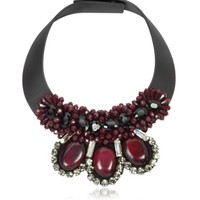 Marni Designer Necklaces Dark Red Leather and Horn Choker