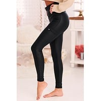 Charmed And Dangerous Faux Leather Leggings (Black)