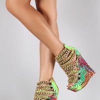Palms Leaves Strappy Gold Link Chain Up Open Toe Platform Wedge