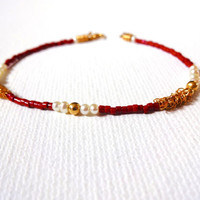 Handmade 14k Gold Fill Feshwater Pearl Red Color Blocked Bracelet or Anklet - Modern Minimalist Jewelry; Red & Gold Delicate Jewelry