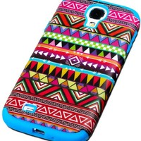 """myLife Electric Blue - Tribal Design (3 Piece Hybrid) Hard and Soft Case for the Samsung Galaxy S4 """"Fits Models: I9500, I9505, SPH-L720, Galaxy S IV, SGH-I337, SCH-I545, SGH-M919, SCH-R970 and Galaxy S4 LTE-A Touch Phone"""" (Fitted Front and Back Solid Cover"""