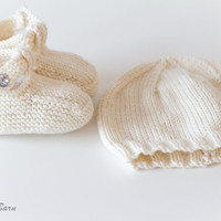Hand Knit Baby Beanie Hat & Sandals Set with Swarovski crystal buttons, handmade baby clothes, new baby gift, baby shower