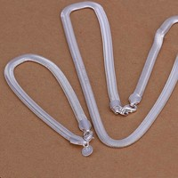 Hot Sale 925 Jewelry Silver Plated Necklaces Bracelets Set 2pcs 6MM Soft Flat Serpent/Snake Bone Chain Silver Bridal Jewelry Set