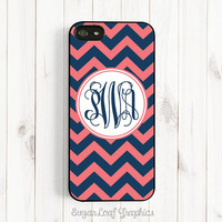 Personalized Monogram Coral Pink and Navy Blue Chevron Samsung Galaxy S3 S4 iPhone 4 4s Case iPhone 5 Case iPhone 5s iPhone 5c Case csc01