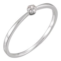 14kt White Gold .025 CTW Petite Cluster Diamond Ring