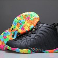 Kids Nike Air Foamposite One Black/Colorful Sneaker Shoe US 11C - 3Y