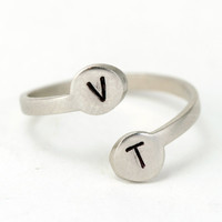 Adjustable Personalized Two Initial Ring  in SILVER