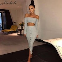 Macheda Sexy Women Summer Dress Clothes Sets Off Shoulder Long Sleeve Tops And Long Skirt Sexy Ladies Evening Party Clothes