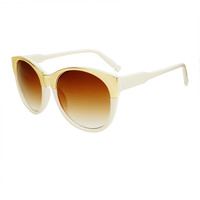 Designer Fashion Womens Gold Metal Large Round Sunglasses R2830