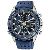 Citizen Eco-Drive Blue Angels World Chrono AT Mens Strap Watch - Blue Dial