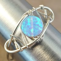 Light Blue Opal Ring Wire Wrapped Silver or Gold - Made in Your Size